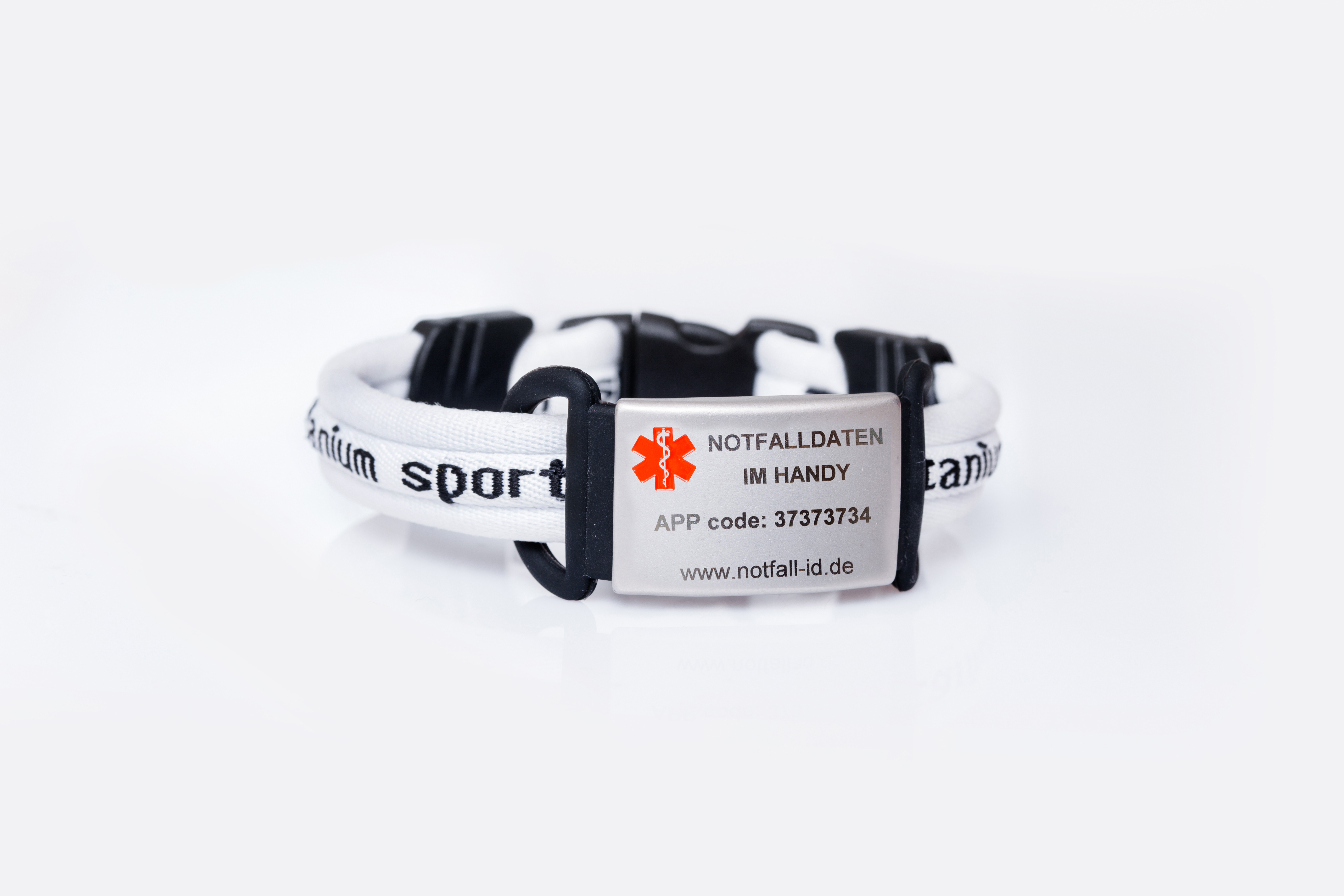 Medical id adult sport bracelet white