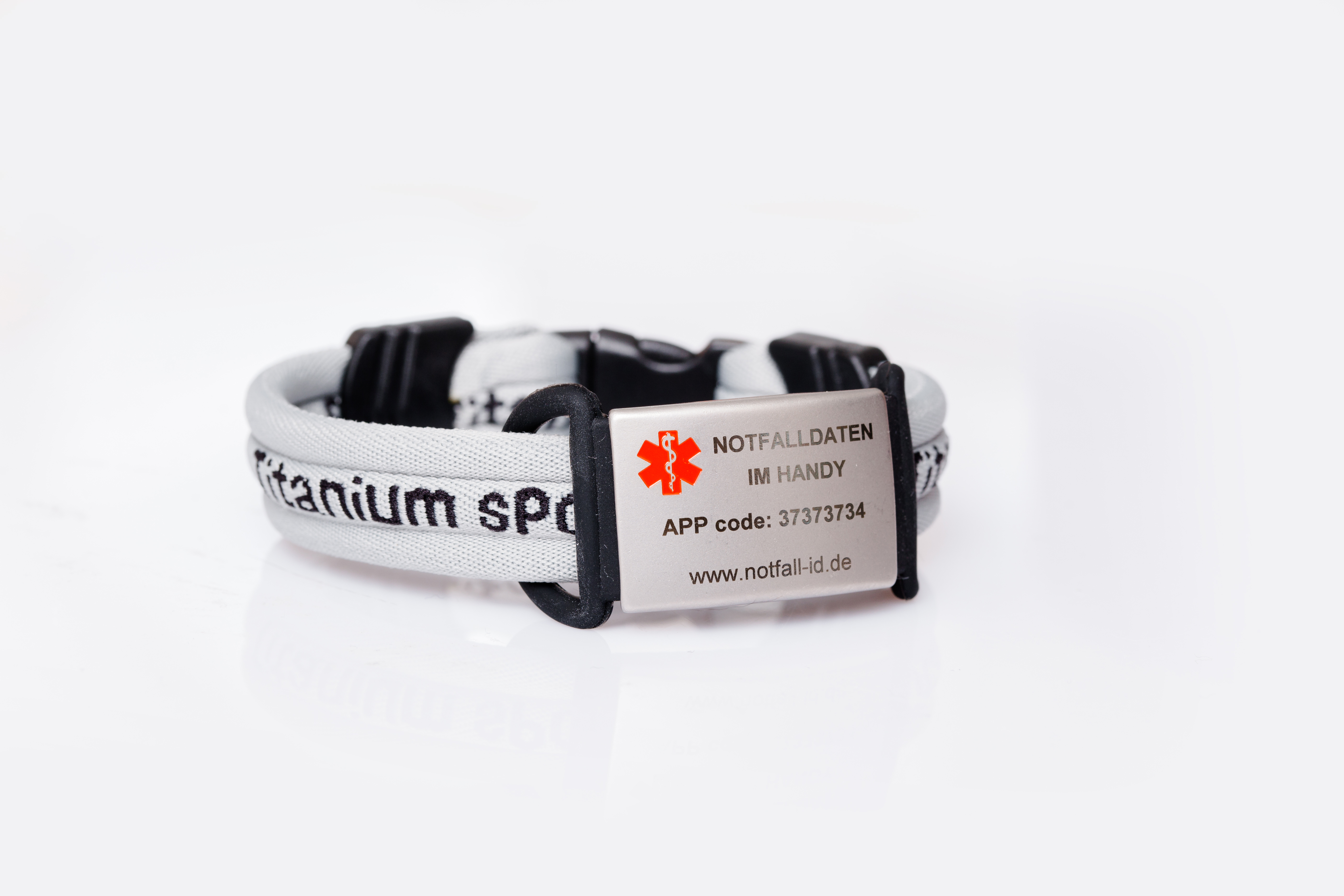 Medical id adult sport bracelet grey