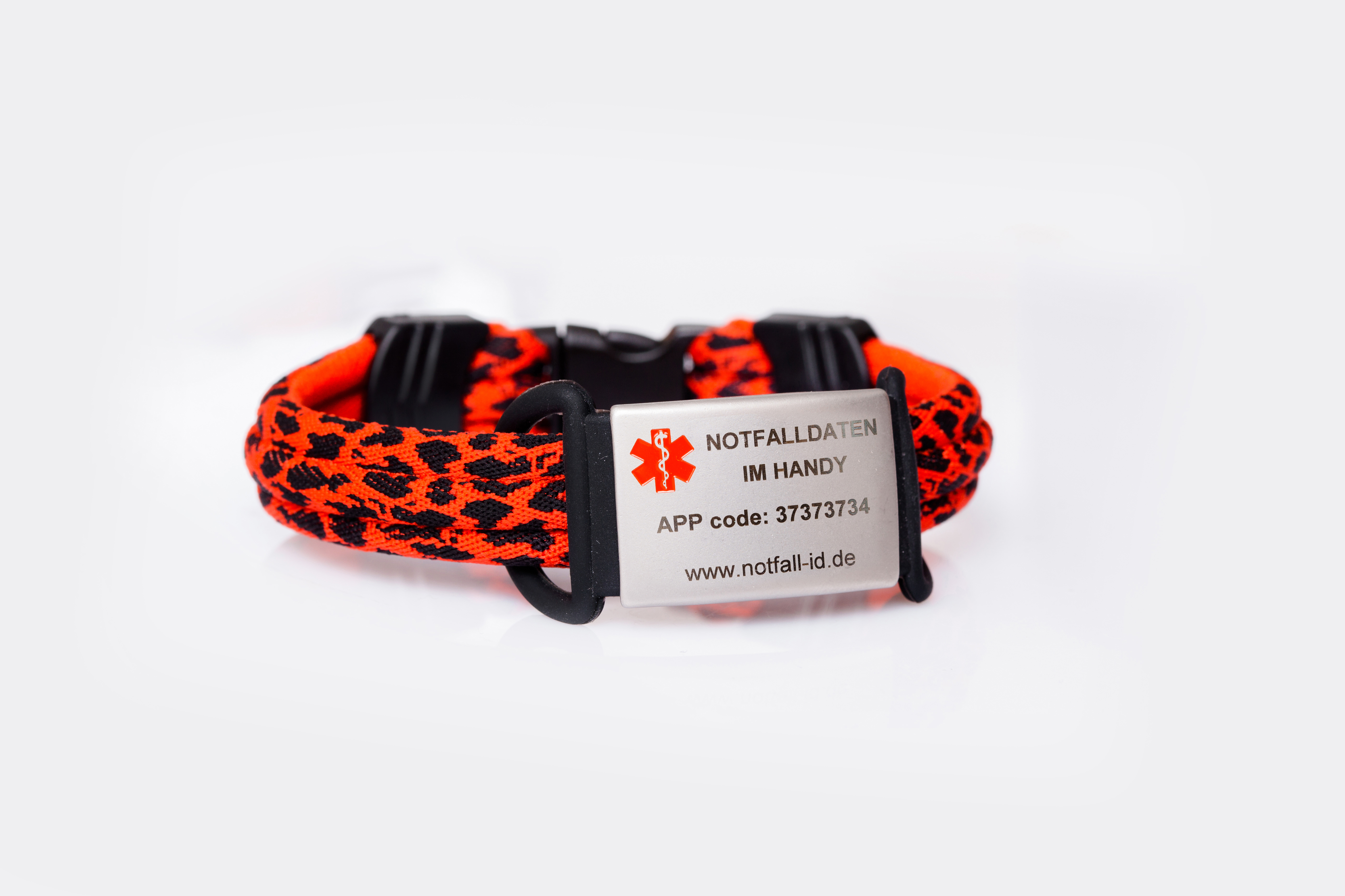 medical id adult sport bracelet black red