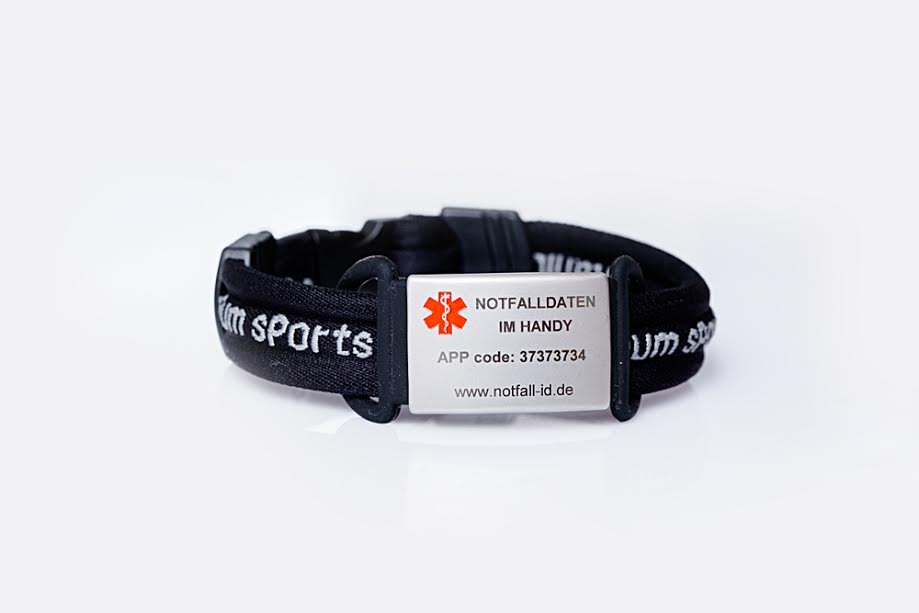 Medical id adult sport bracelet black