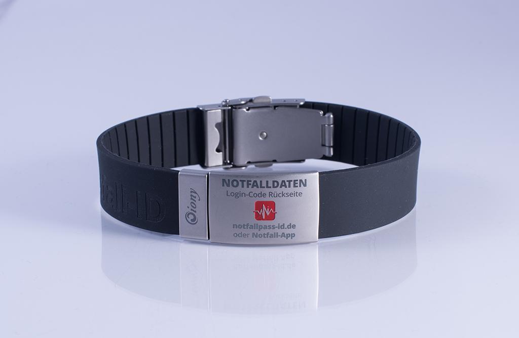 Notfallarmband Schwarz